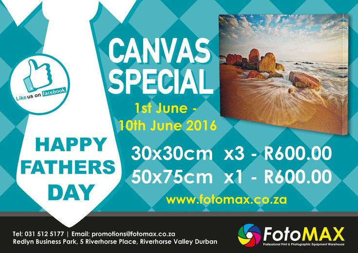 #Fathers Day #Canvas Special! What a Lekker #gift for your #dad! Give him the gift of special #memories that he can enjoy in his home or office :-)