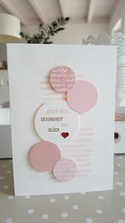 handmade greeting card ,,, pink and white ,,, die cut circles  and stamped writing ...