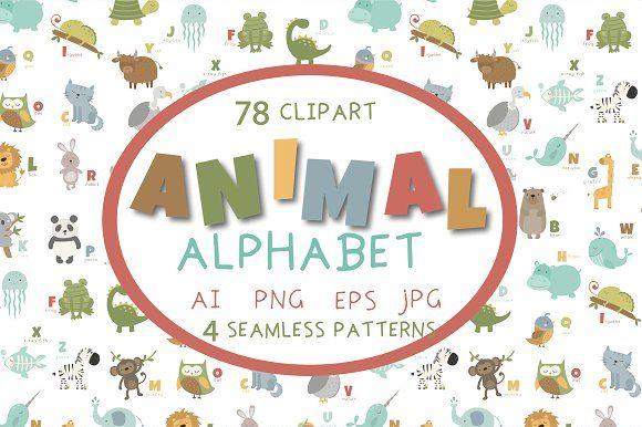 Animal alphabet by Poppymoondesign on @creativemarket