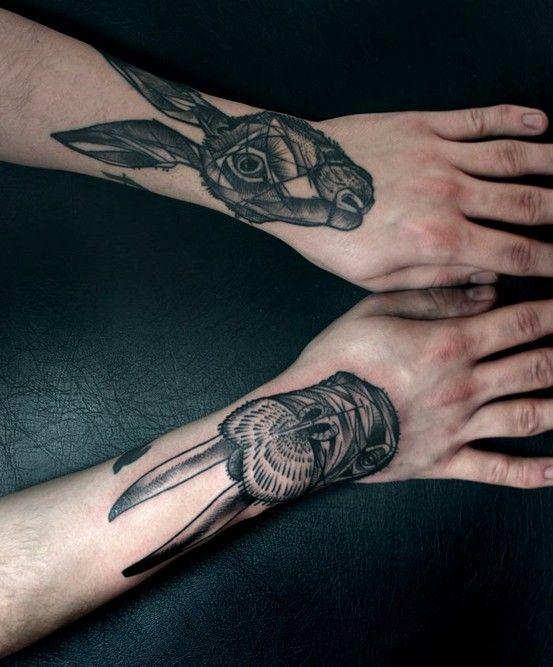 //: Wrist Tattoo, Animal Tattoo, Peter Aurisch, Peter O'Tool, Rabbit Tattoo, Hands Tattoo, Tattoo Patterns, Geometric Tattoo, Cool Tattoo