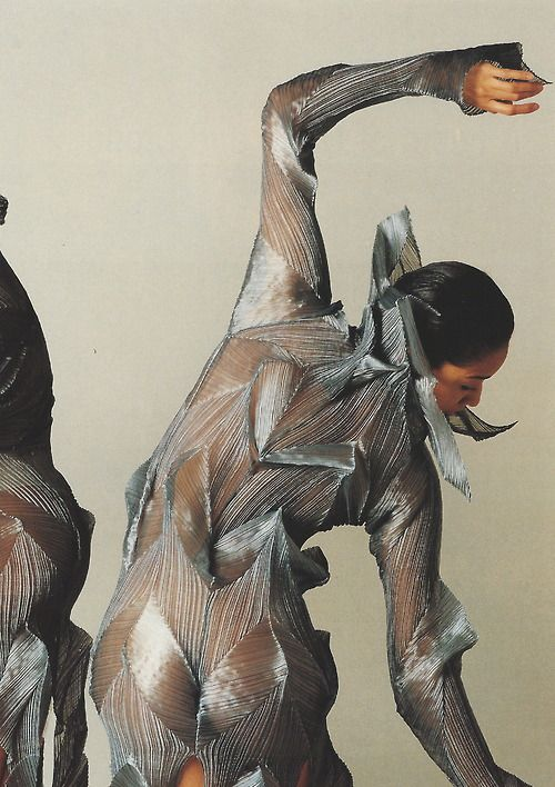 Dancers from the Frankfurt Ballet inPleats designedby Issey Miyake, 1991. Scan fromIssey Miyake: Making Things.