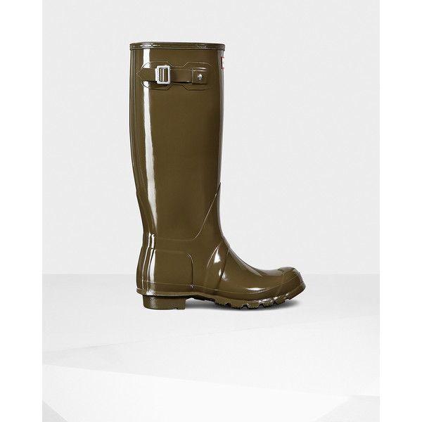 Hunter Women's original tall gloss rain boots swamp green