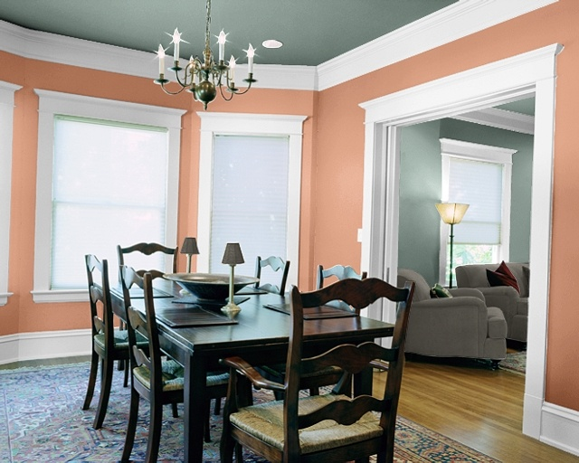 I love how they used the living room color on the ceiling! Wonder how that would look, maybe a lighter version?