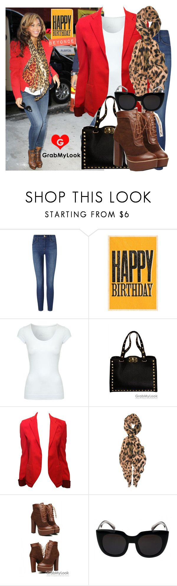 """""""GrabMyLook Tribute to Beyonce - Happy Birthday!"""" by grabmylookfashion ❤ liked on Polyvore featuring Frame, Jane Norman and Feather & Stone"""