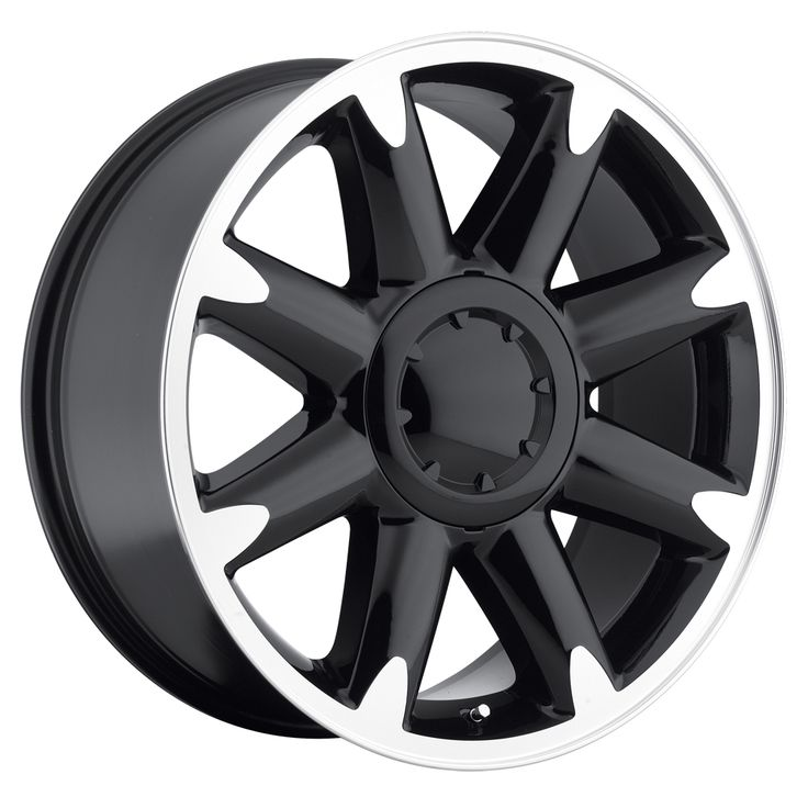 Gmc Yukon 2007-2012 20x8.5 6x5.5  13 - Denali Wheel - Black Machine Face With Cap