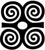 """Dwennimmen -- """"ram's horns"""" -- symbol of humility together with strength. The ram will fight fiercely against an adversary, but it also submits humbly to slaughter, emphasizing that even the strong need to be humble. West Africa, Adinkra symbol."""
