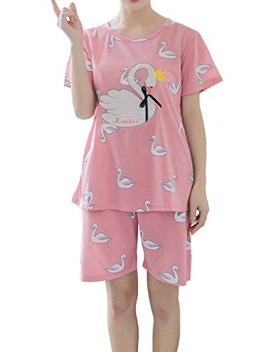 2a4bc2e24ba0 MyFav Cotton Sleepwear Swan Printed Bowknot Nighty Teen Girls Sweet Pajama  Set