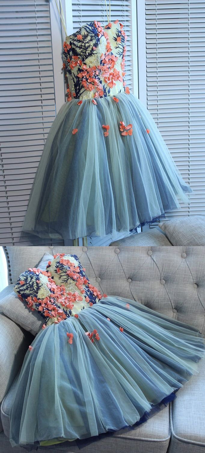Unique sweetheart tulle mini homecoming dress with flowersa line