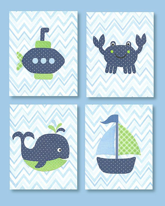 Blue and Green Nursery Little Whale Nautical Blue Chevron navy sea creature ocean baby decor fish sailboat submarine 8 x 10 or 11 x 14 on Etsy, $42.00