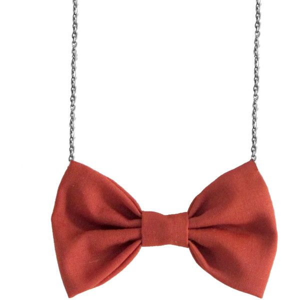 Dust Orange Bow Tie Necklace, BowTie for Women, Orange Bowtie Necklace (110 SEK) ❤ liked on Polyvore featuring jewelry, necklaces, orange necklace, chain collar necklace, chains jewelry, bow chain necklace and stitch necklace