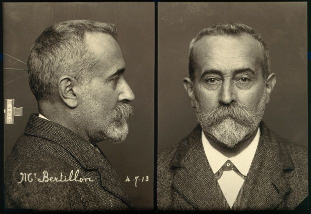 Alphonse Bertillon, the French police officer who invented the mugshot, 1913.