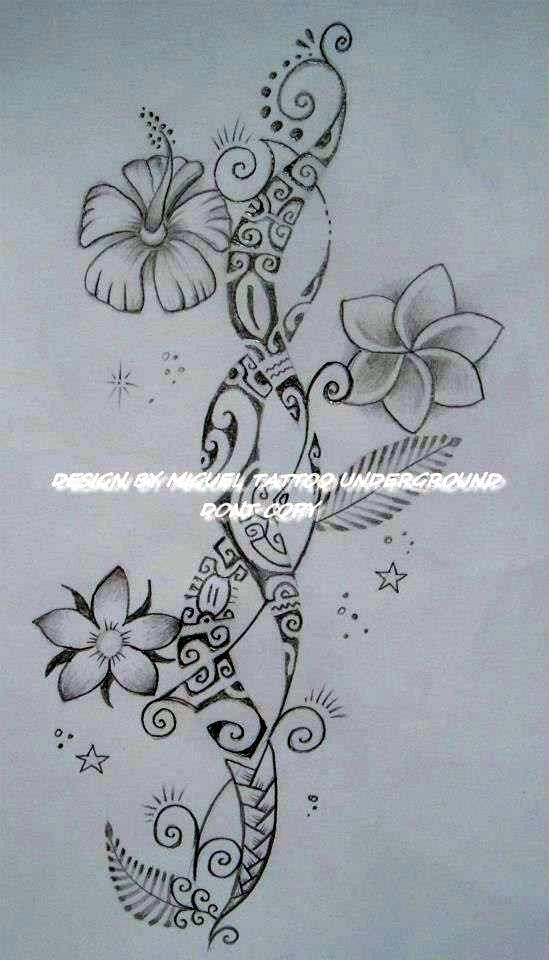 Dessin pour Tatouage de Femme de style purement Polynésien avec fleurs Hibiscus, Tiare Tahiti et Tipanier