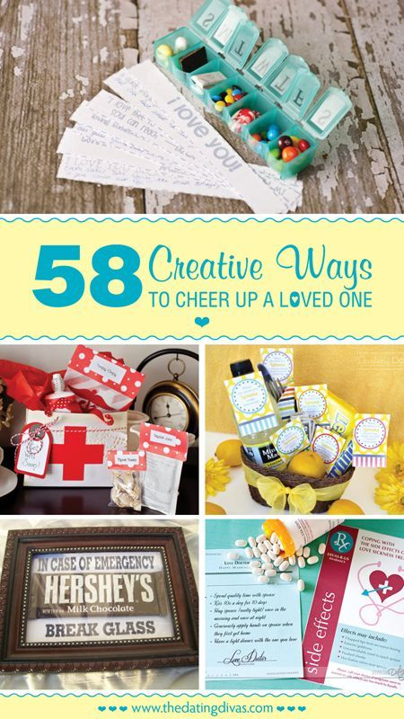 Lots of practical and cute ideas for cheering up someone who is not feeling like themselves, no matter the reason.