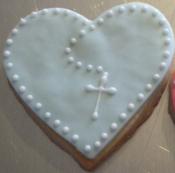 Large Religious Heart Cookie with cross by Mama's Custom Cookies.