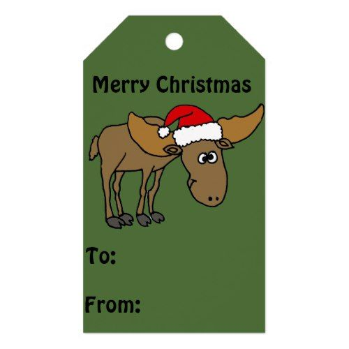 Funny Moose in Santa Hat Christmas Gift Tags