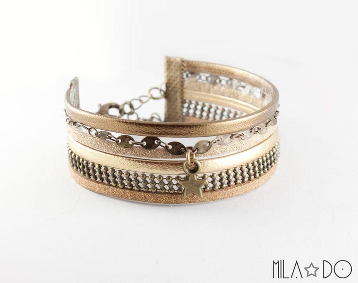 Bracelet manchette Inka cuir doré et bronze de Mila Do sur DaWanda.com