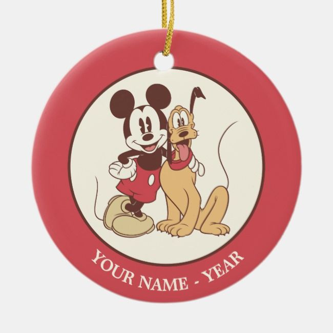 Classic Mickey Pluto Add Your Name Ceramic Ornament Zazzle Com Ceramic Ornaments Disney Christmas Personalized Holiday