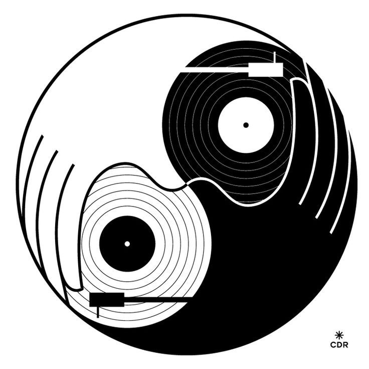 Yin-Yang; A simple, but complicated taijitu design by Christopher David Ryan that incorporates both a clockwise and counterclockwise pair of taijitu within the same space.