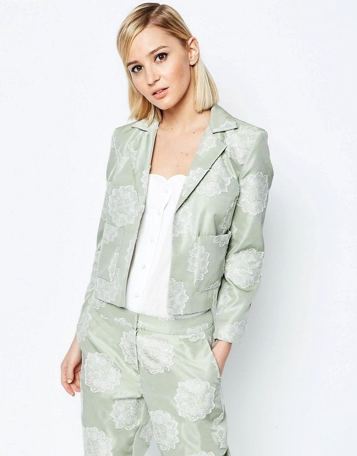 ASOS+Jacquard+Occasion+Cropped+Blazer+Co-ord