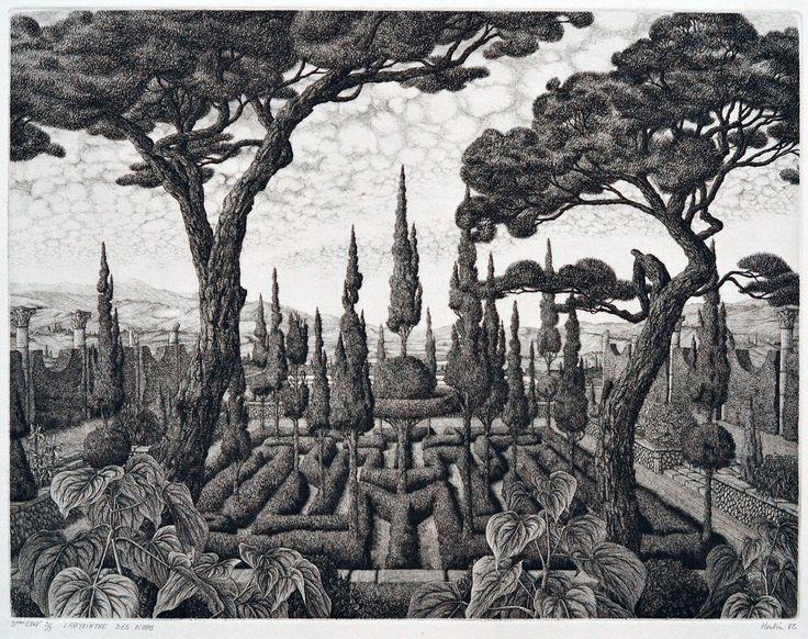 François Houtin - Labyrinthe des Noms (3eme Etat),etching edition 3, 1982, 9 x 11.5in 22.5 x 29.5cm