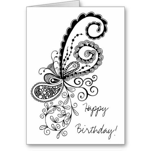 Birthday Card Drawings | Happy Birthday Abstract Doodle Card from Zazzle.com