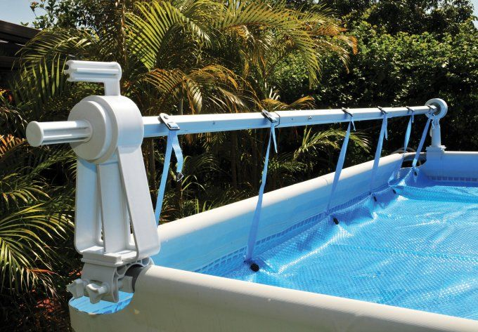 Kokido solaris above ground swimming pool cover reel set for Above ground pool reel ideas