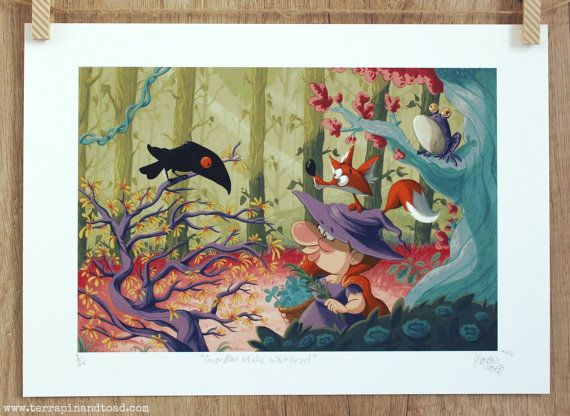 Whimsical art, Limited edition art print by #TerrapinAndToad