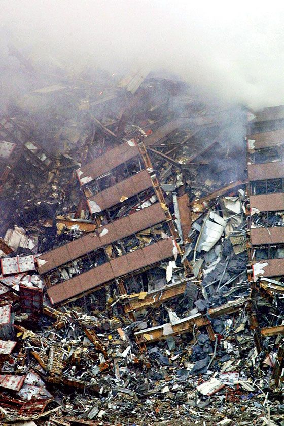 7 World Trade Center, two days after it collapsed.                                                       9/11 ~ Never Forget!!