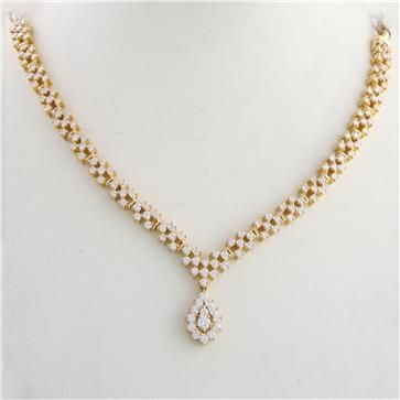 Diamond Studded Necklace | South Indian Diamond Necklace
