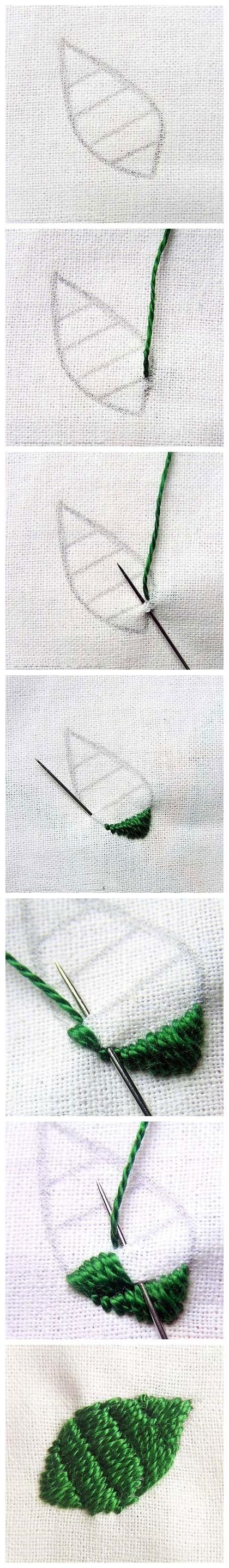 DIY Another embroidery leaf