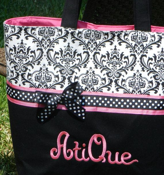 Balck and white damask personalized diaper by sewblessedstitches, $45.95
