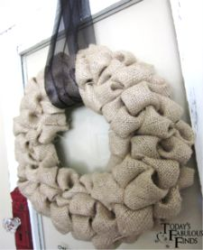 """""""Bubble"""" wreath made of burlap.  I was thinking about making this and then attaching """"stuff"""" to it as the seasons change - one wreath, many seasons"""