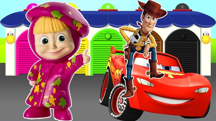 LIGHTNING MCQUEEN - SHERIFF WOODY - MASHA AND THE BEAR!! LEARN COLORS AN...