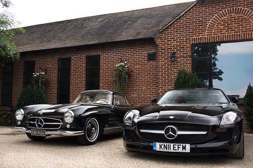 Mercedes SL300 & SLS. Old school vs new school...think they got their secret sauce right? #newclassic