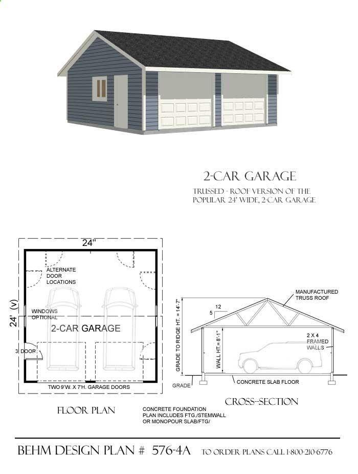 27 best two car garage plans images on pinterest garage for Detached garage floor plans