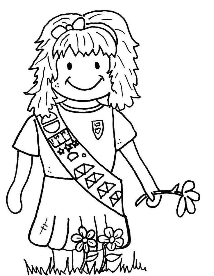 Dorable Girl Scout Para Colorear Las Margaritas Con La Ley Molde ...