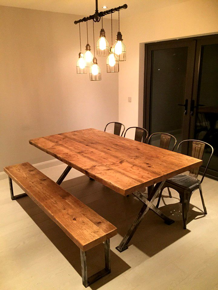 Industrial Style Dining Table With Bench From Scandinavian Pine