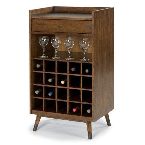 Flexsteel Gemini Mid Century Modern Wine Rack with Bar Accessory Drawer
