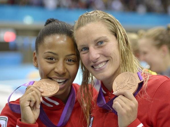 2. Émilie Heymans and Jennifer Abel - Bronze in three meter springboard    synchronized diving.