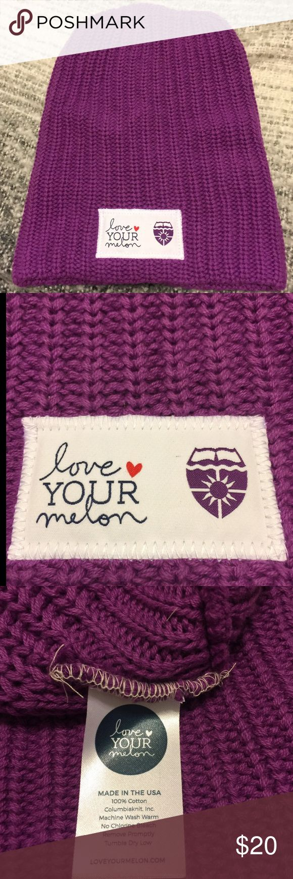Tommie-purple Hat by Love Your Melon! NWOT Love Your Melon hat, in UST purple with logo on tag of hat. Super soft and warm. Never worn, NWOT. Cuffed beanie-style of 100% cotton yarn. One size fits all! Happy Shopping!! 🦄🦄 Love Your Melon Accessories