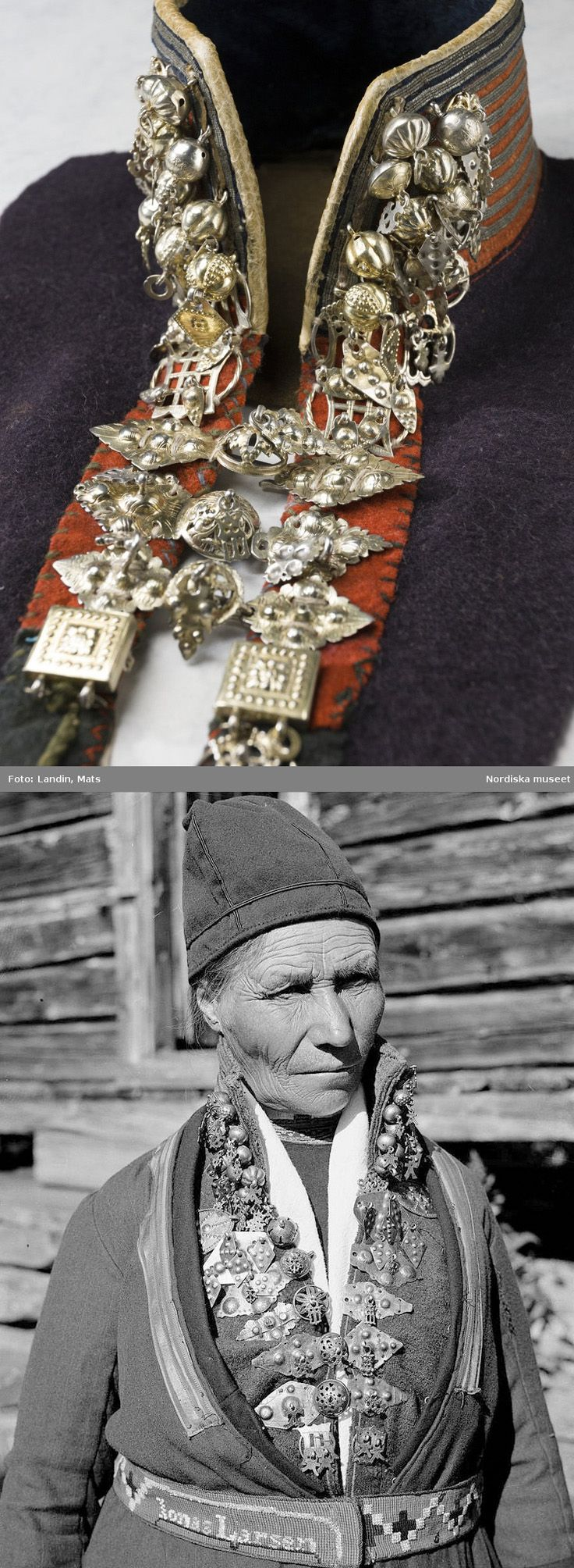 Above: Jewelry, Sami silver collar (Silverkrage). Part of traditional clothing with silver and metal goldwork (embroidery) on the collar. Used of Senjen, Tromso, Norway, in the early 1800s. http://www.flickriver.com/photos/28772513@N07/3567228873/ Below: Sami woman from Sweden with a silver collar. 1935. https://www.flickr.com/photos/28772513@N07/14832789461/