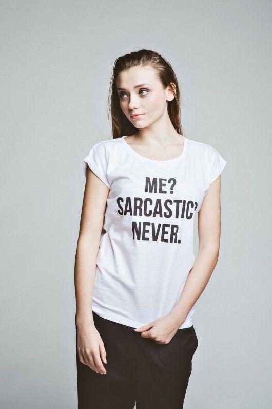 bluzki - t-shirty - damskie-T-shirt Sarcastic Girl tee t-shirt casual white oversize cotton