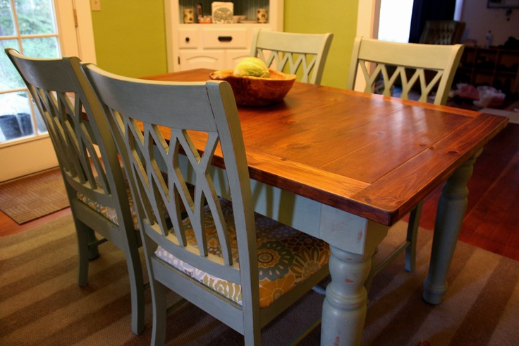 A Blue Farmhouse Dining Table And Chairs In 2019 Kitchen
