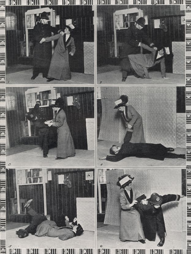 Demonstration of ju jitsu for suffragettesEdith Garrud was a tiny woman. Measuring 4ft 11in (150cm) in height she appeared no match for the officers of the Metropolitan Police - required to be at least 5ft 10in (178cm) tall at the time. But she had a secret weapon. In the run-up to World War One, Garrud became a jiu-jitsu instructor to the Women's Social and Political Union (WSPU), better known as the suffragettes, taking part in an increasingly violent campaign for votes for women.