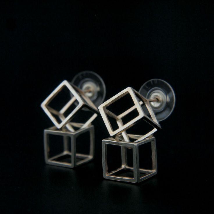 double Cube Earrings. sterling silver. www.aimeesutanto.com