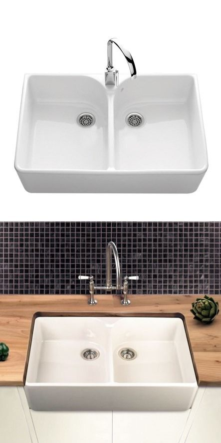 Villeroy U0026 Boch Farmhouse 80 White Ceramic Double Bowl Belfast Sink   795 X  500mm