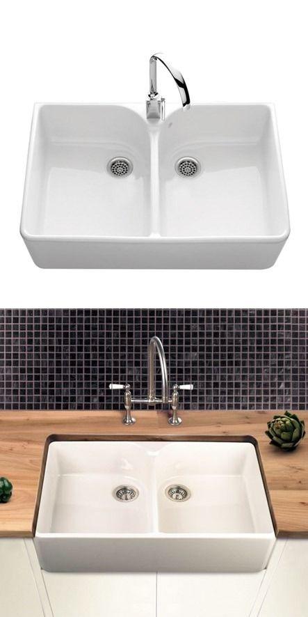 villeroy boch farmhouse 80 white ceramic double bowl belfast sink 795 x 500mm - Double Ceramic Kitchen Sink