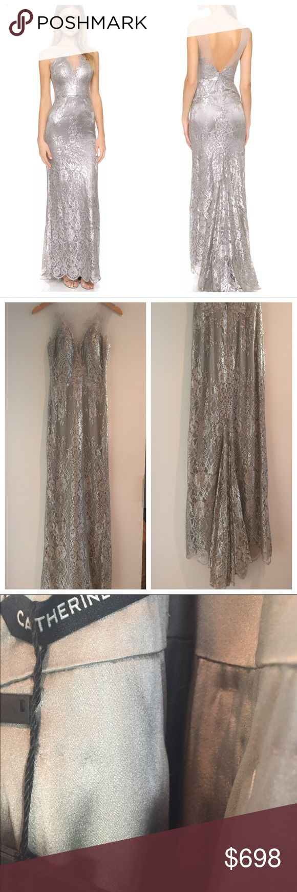 Catherine Deane Chloe Metallic Lace Gown Sz 0/2 Stunning lace gown with illusion neckline. Back zip. Fishtail hem. Built in soft cups.  Sold at Shopbop, Neiman Marcus and Bergdorf Goodman. Catherine Deane Dresses