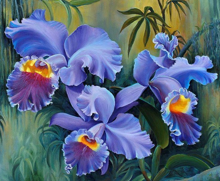 Схема вышивки «Голубые орхидеи» - Вышивка крестом