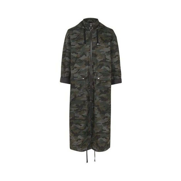 Topshop Camo Parka ($74) ❤ liked on Polyvore featuring outerwear, coats, khaki, topshop parka, hooded parka coat, camouflage parka, camo coat and khaki coat